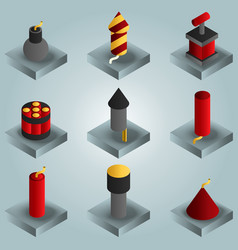 pyrotechnics color gradient isometric icons vector image