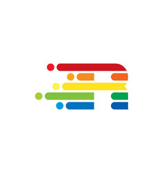 r colorful letter speed pixel logo icon design vector image