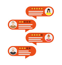 rating app bubble speeches and avatars vector image