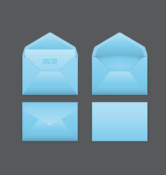 realistic blue envelope set on grey vector image