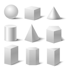 Realistic detailed 3d white basic shapes set vector