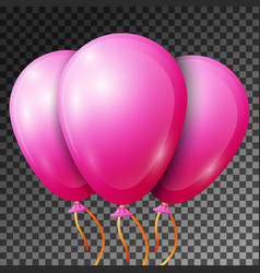 Realistic pink balloons with ribbons isolated vector