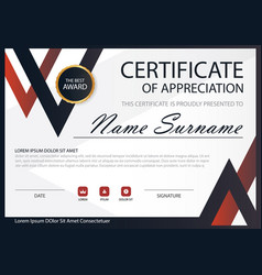 red black elegance horizontal certificate with vector image