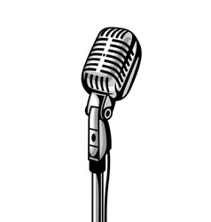 Retro microphone isolated on white background vector
