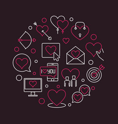 romance and love round in thin vector image