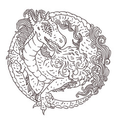 round dragon coloring page vector image