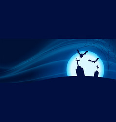 Scary halloween night scene with flying bats vector