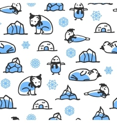 Seamless pattern with cute doodle seal polar bear vector image