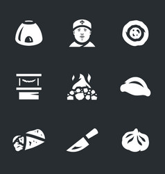 Set of asian food icons vector