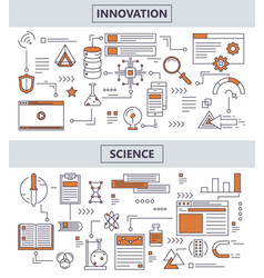 Set of modern thin line science innovation vector