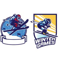 set of skiing sport games badge design vector image