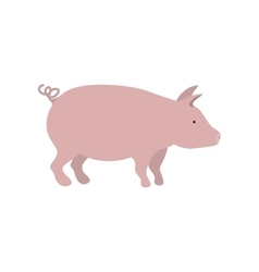 silhouette color with pink pig vector image