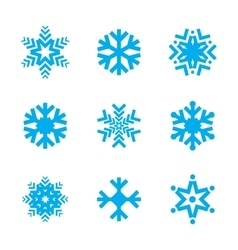 Snowflake icon set isolated on white background vector image
