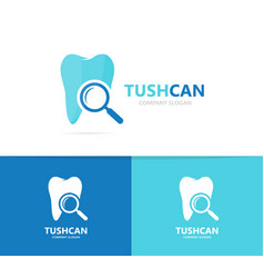 Tooth and loupe logo combination dental vector