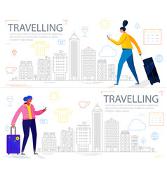 traveling concept banners trendy character design vector image