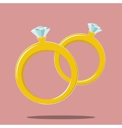 Two rings marriage symbol vector