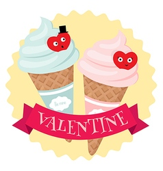 Valentine ice-cream cones vector image