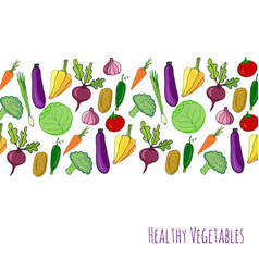 vegetable hand drawn background isolated vector image