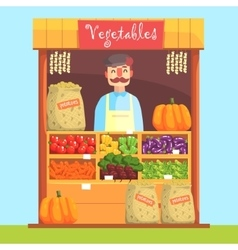 Vendor Behind Market Counter With Assortment Of vector