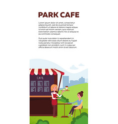 vertical brochure design for park cafe takeaway vector image
