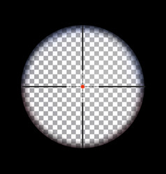 View through sniper scope with scale for aiming vector