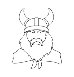 Viking icon in outline style isolated on white vector image