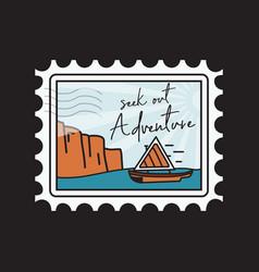 Vintage camping adventure stamp emblem vector
