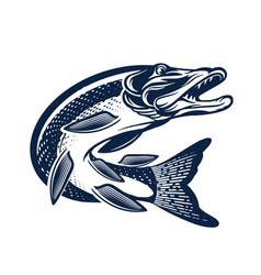 Vintage pike fish logo fishing vector