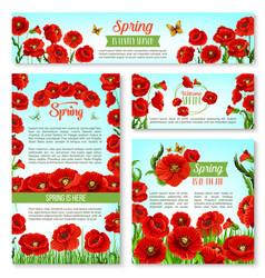 Welcome spring banner template with flowers vector