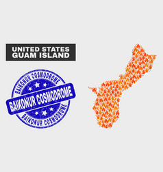 Wildfire mosaic guam island map and grunge vector