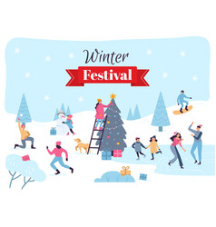 winter festival december holidays celebration vector image