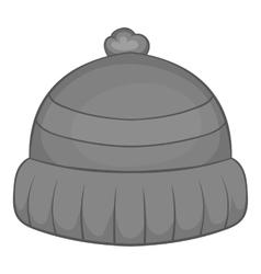 Winter hat icon black monochrome style vector