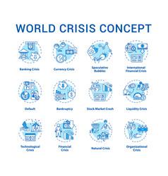 World crisis concept icons set international vector