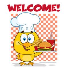 chef yellow chick cartoon character vector image