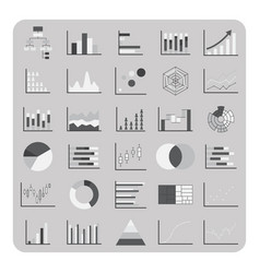 flat icons basic graph chart and diagram set vector image
