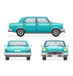 front back side point view retro car icons set vector image vector image