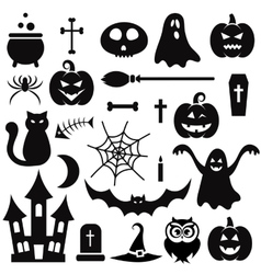 Halloween icons isolated on white vector image