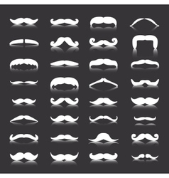 Mustaches icons set isolated symbol vector