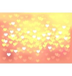 Pink festive lights in heart shape background vector image