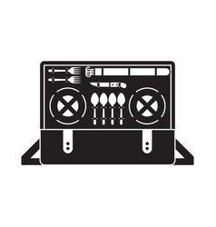 portable picnic bag hamper icon vector image