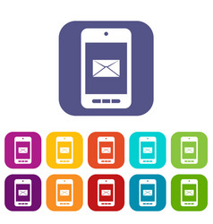smartphone with email symbol on the screen icons vector image vector image