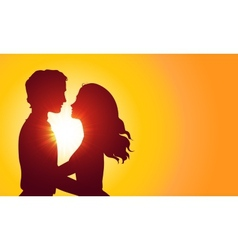 Sunset silhouettes of kissing couple vector image vector image