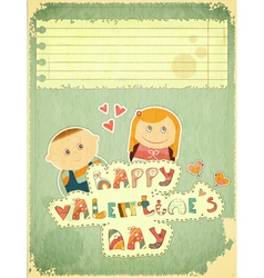 Vintage Design Valentines Day Card vector image vector image