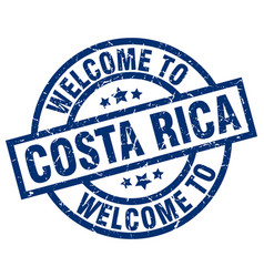 welcome to costa rica blue stamp vector image vector image
