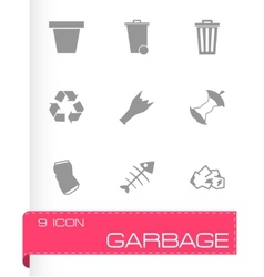 black garbage icons set vector image