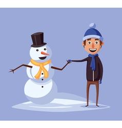 Boy making cute snowman Cartoon vector image vector image