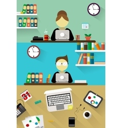 Flat design corporate business team people vector image vector image