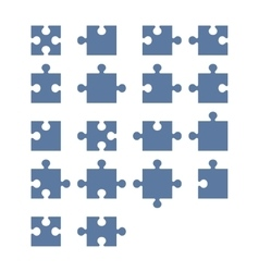 Jigsaw Puzzle Blank Constructor Total Parts Set vector image vector image