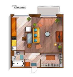 modern studio apartment top view vector image vector image