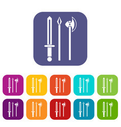 Ancient weapon sword pick and axe icons set vector